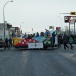 The NAIG Float on the way to Mosaic Stadium / Le char des JAAN se dirigeant vers le Stade Mosaic
