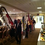 Grand Entry M1 Conference, Elder Tony Cote with Regina 2014 NAIG Eagle Staff / la Grande Entrée de la conférence M1, l'Aîné Tony Cote avec les personnes de l'Aigle des JAAN de Regina 2014